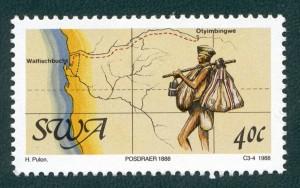 stamp mail runner tsumeb 1888 heinz pulon 1988 small
